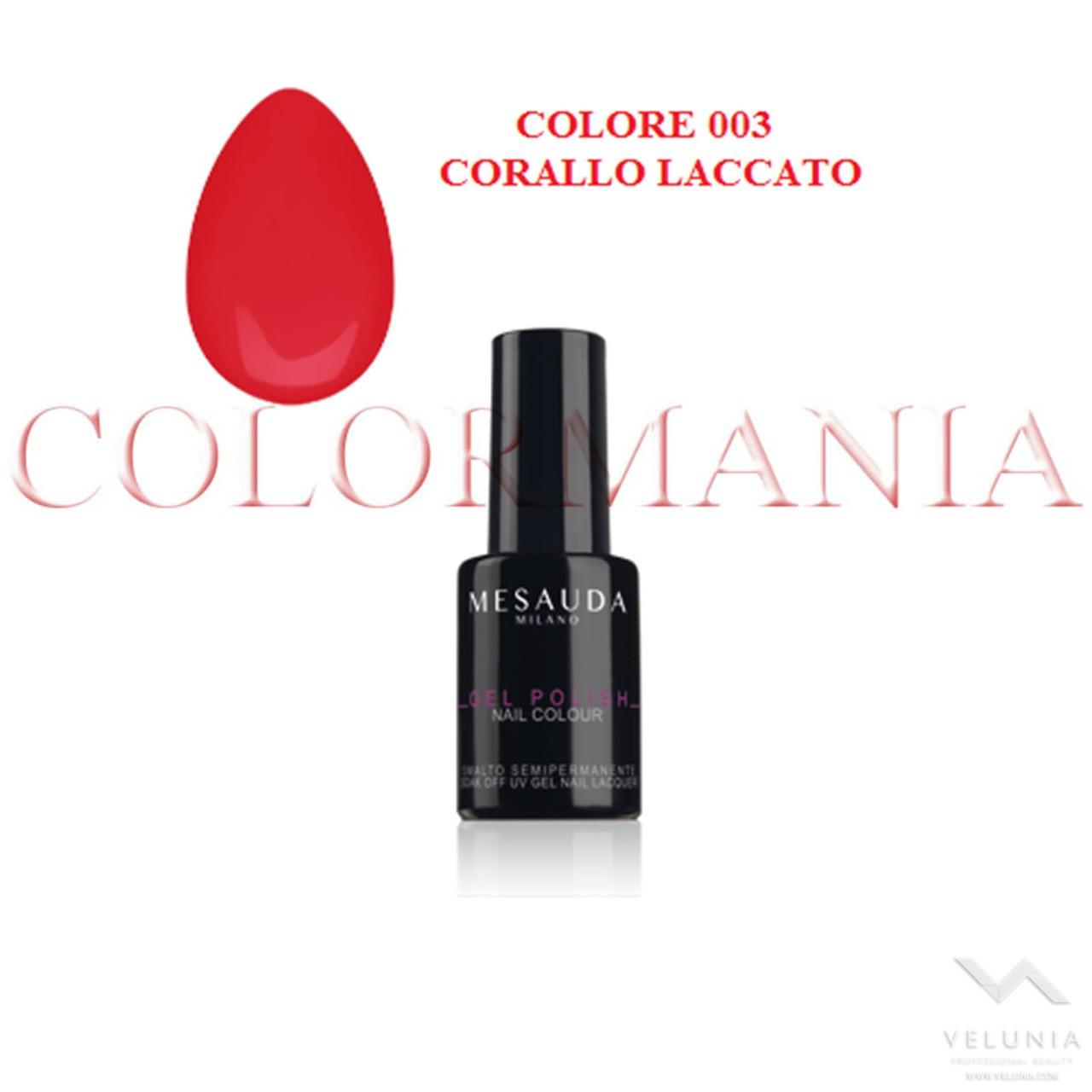 MESAUDA GEL POLISH NAIL SMALTO SEMIPERMANENTE PROFESSIONALE 5 ML COLORE 003 CORALLO LACCATO 1