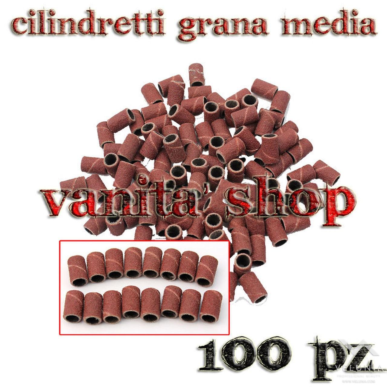 CILINDRETTI LEVIGANTI PER FRESA NAIL ART DI GRANA MEDIA 100pz 1