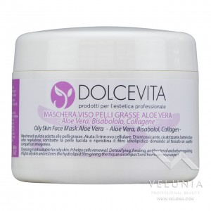 Maschera Viso Aloe Vera Pelle Grassa - DolceVita - Vaso 250 ml.