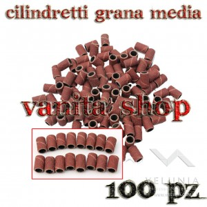 CILINDRETTI LEVIGANTI PER FRESA NAIL ART DI GRANA MEDIA 100pz